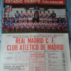 Coleccionismo deportivo: CARTEL PÓSTER OFICIAL. LIGA. REAL MADRID-ATLÉTICO DE MADRID. ESTADIO VICENTE CALDERÓN. 1989.. Lote 142153308