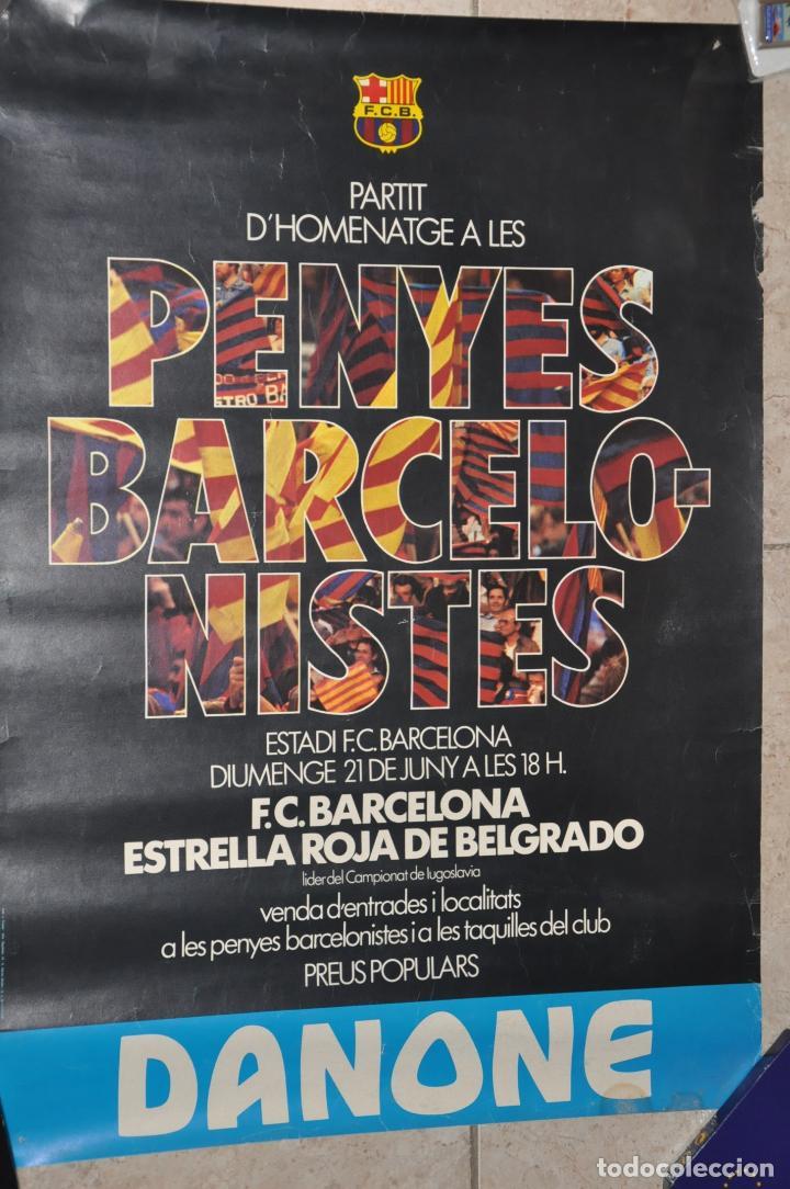 CARTEL PARTIT HOMENATGE PENYES BARCELONISTES,F.C. BARCELONA 1981 (Coleccionismo Deportivo - Carteles de Fútbol)