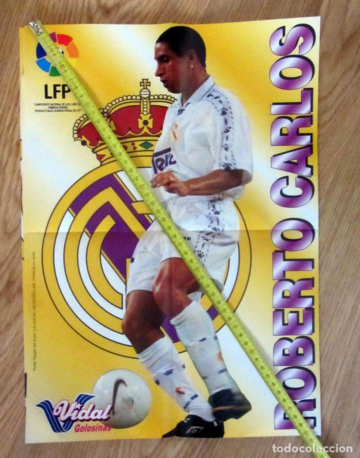 POSTER GOLOSINAS VIDAL ROBERTO CARLOS REAL MADRID TEMPORADA 1996-97 CHICLES (Coleccionismo Deportivo - Carteles de Fútbol)