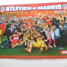 Coleccionismo deportivo: POSTER ALINEACION EQUIPO CAMPEON LIGA AT. MADRID JUGON 2013 2014 13 14 TAMAÑO FOLIO. Lote 152018237