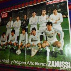 Coleccionismo deportivo: SIN USO, CARTEL REAL MADRID AÑOS 80 DIARIO AS PUBLICIDAD ZANUSSI. 62X48 CMS. . Lote 156768133