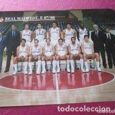 Coleccionismo deportivo: CARTEL DE FUTBOL REAL MADRID CON FIRMAS JUGADORES 87 88 EXCELENTE . Lote 145935742