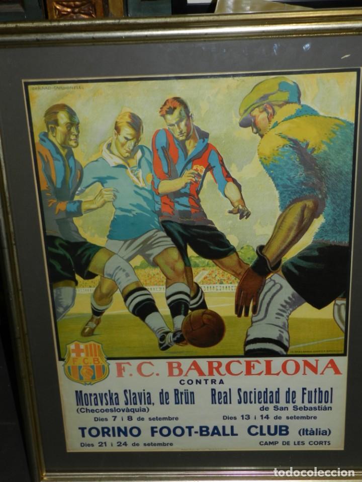 (M) CARTEL ORIGINAL AÑOS 30 - FC BARCELONA TORINO FC R SOCIEDAD MORAVSKA SLAVIA , LES CORTS (Coleccionismo Deportivo - Carteles de Fútbol)