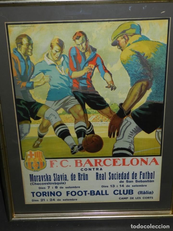 Coleccionismo deportivo: (M) CARTEL ORIGINAL AÑOS 30 - FC BARCELONA TORINO FC R SOCIEDAD MORAVSKA SLAVIA , LES CORTS - Foto 2 - 147309842