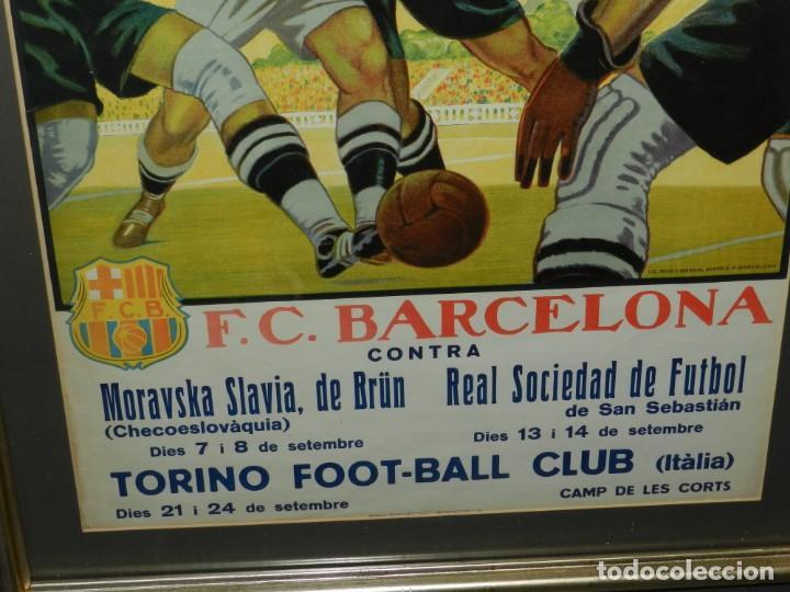 Coleccionismo deportivo: (M) CARTEL ORIGINAL AÑOS 30 - FC BARCELONA TORINO FC R SOCIEDAD MORAVSKA SLAVIA , LES CORTS - Foto 4 - 147309842