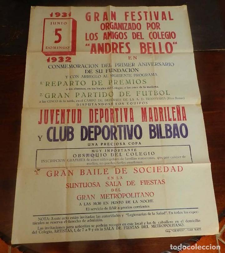 CARTEL DE FUTBOL, JUVENTUD DEPORTIVA MADRILEÑA-CLUB DEPORTIVO BILBAO, ESTADIO DE LA A.D. TRANVIARIA (Coleccionismo Deportivo - Carteles de Fútbol)