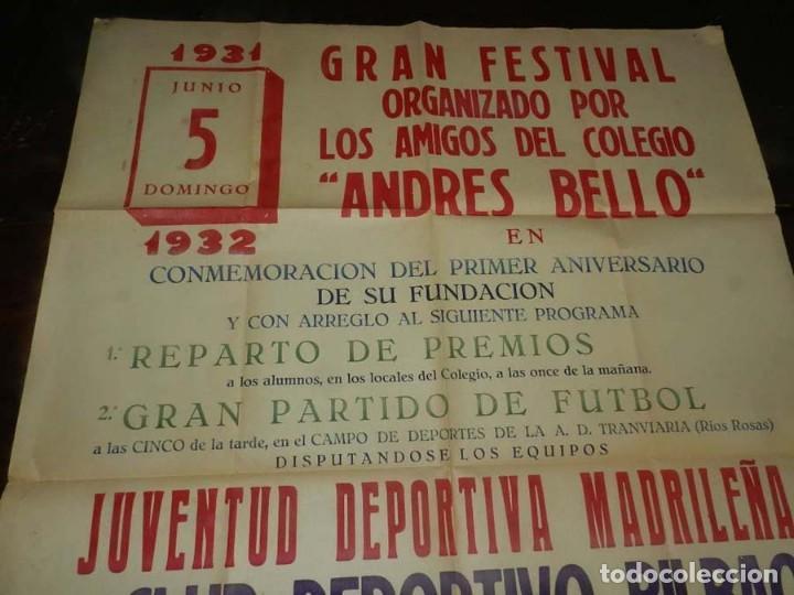 Coleccionismo deportivo: CARTEL DE FUTBOL, JUVENTUD DEPORTIVA MADRILEÑA-CLUB DEPORTIVO BILBAO, ESTADIO DE LA A.D. TRANVIARIA - Foto 2 - 147821602