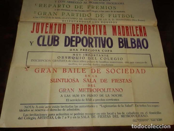 Coleccionismo deportivo: CARTEL DE FUTBOL, JUVENTUD DEPORTIVA MADRILEÑA-CLUB DEPORTIVO BILBAO, ESTADIO DE LA A.D. TRANVIARIA - Foto 3 - 147821602