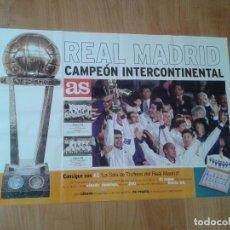 Coleccionismo deportivo: REAL MADRID -- CAMPEÓN INTERCONTINENTAL -- DIÁRIO AS -- 1998 -- POSTER, CARTEL -- 87 X 60 CM. Lote 152875662