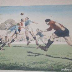 Coleccionismo deportivo: LITOGRAFIA A COLOR AÑOS 40 O 50 TAMPOCO SE QUE EQUIPO SE PLASMA EN LA LITOGRAFIA MEDIDAS 60X48. Lote 153561146