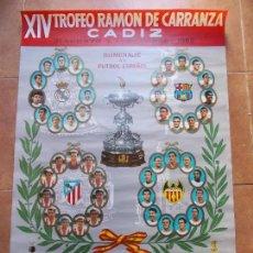 Coleccionismo deportivo: CARTEL XIV TROFEO CARRANZA 1968 CADIZ C.F. Lote 154635122