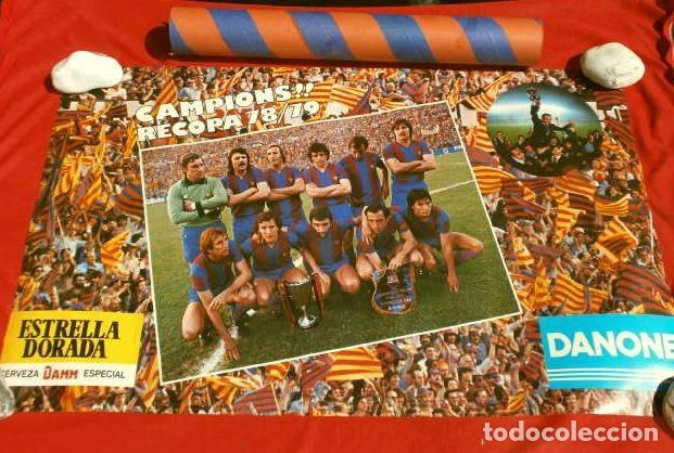 Coleccionismo deportivo: BARÇA - POSTER OFICIAL PLANTILLA F.C. BARCELONA CAMPIONS RECOPA BASILEA 78/79 Estrella Dorada Danone - Foto 2 - 155526874