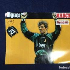 Coleccionismo deportivo: CARTEL MARCA BODO ILLGNER PORTERO REAL MADRID 25 TEMPORADA 96 97 BUEN ESTADO. Lote 156764594