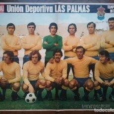 Coleccionismo deportivo: UNIÓN DEPORTIVA LAS PALMAS FÚTBOL POSTER EQUIPO TEMP. 1974 - 75 REVISTA ACTUALIDAD. Lote 157385158
