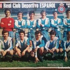 Coleccionismo deportivo: R.C.D. ESPAÑOL FÚTBOL POSTER EQUIPO TEMP. 1974 - 75 REVISTA ACTUALIDAD. Lote 157385454