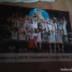 Coleccionismo deportivo: REAL MADRID - CAMPEÓN CHAMPIONS LEAGUE 2018 - PÓSTER 74 X 53 CM - PRODUCTO OFICIAL. Lote 158145646