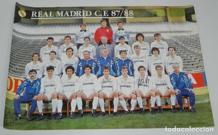 CARTEL, POSTER REAL MADRID TEMPORADA 1987 1988 - 87/88 - CON LAS FIRMAS IMPRESAS DE LOS JUGADORES, M (Coleccionismo Deportivo - Carteles de Fútbol)