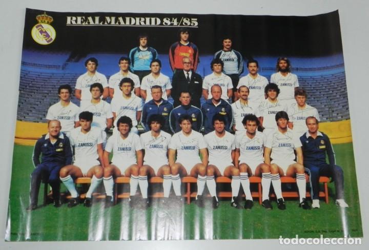 CARTEL, POSTER REAL MADRID TEMPORADA 1984 1985 - 84/85 - CON LAS FIRMAS IMPRESAS DE LOS JUGADORES, M (Coleccionismo Deportivo - Carteles de Fútbol)
