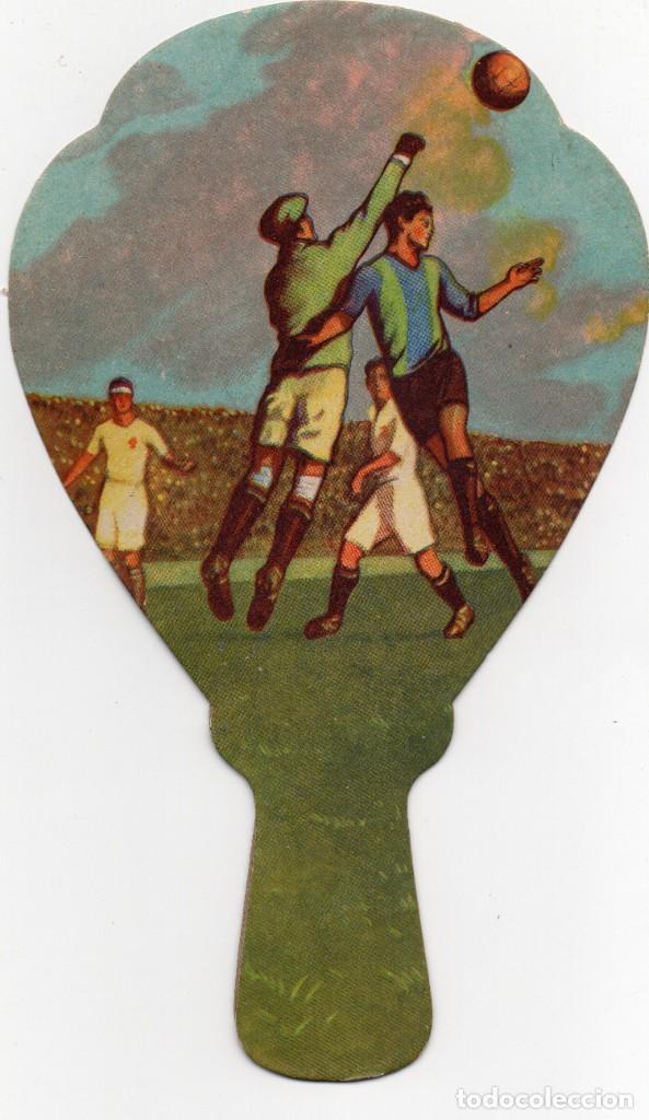 FUTBOL, ABANICO PAYPAL AÑOS 40,CON PUBLICIDAD CONDIMENTOS PIEL-ROJA (Coleccionismo Deportivo - Carteles de Fútbol)