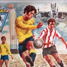 Coleccionismo deportivo: CARTEL FUTBOL CADIZ CF CAMPO CARRANZA , ANOS 1960 , ORIGINAL , RB. Lote 166137026