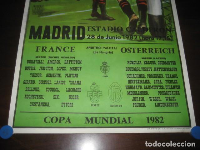 Coleccionismo deportivo: CARTEL POSTER FUTBOL MUNDIAL ESPAÑA 1982. ESTADIO V. CALDERON, MADRID. FRANCIA - AUSTRIA - Foto 3 - 168245564
