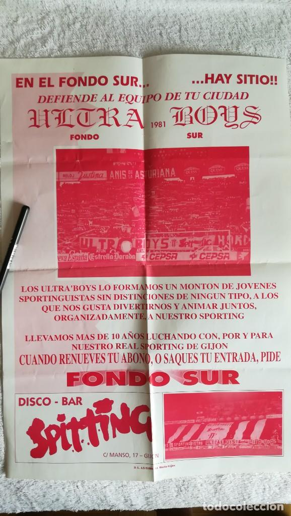 CARTEL ULTRA BOYS SPORTING GIJÓN PUBLICITARIO AÑOS 90 (Coleccionismo Deportivo - Carteles de Fútbol)