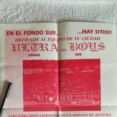 Coleccionismo deportivo: CARTEL ULTRA BOYS SPORTING GIJÓN PUBLICITARIO AÑOS 90 . Lote 169111724