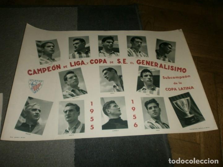 ATLETIC DE BILBAO CAMPEÓN DE LIGA Y COPA DE S. E. EL GENERALÍSIMO 1955 1956 POSTER ORIGINAL ARTE S.A (Coleccionismo Deportivo - Carteles de Fútbol)
