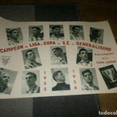 Coleccionismo deportivo: ATLETIC DE BILBAO CAMPEÓN DE LIGA Y COPA DE S. E. EL GENERALÍSIMO 1955 1956 POSTER ORIGINAL ARTE S.A. Lote 170889730
