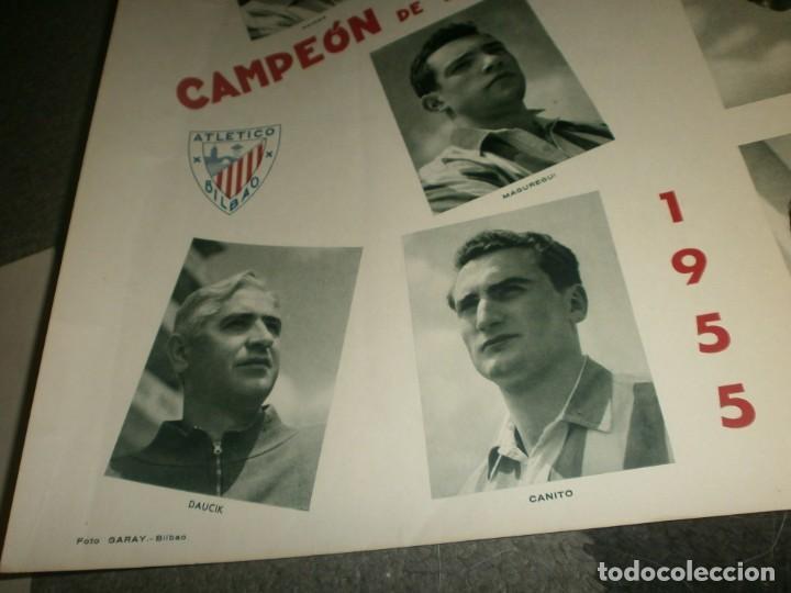 Coleccionismo deportivo: Atletic de Bilbao Campeón de liga y copa de S. E. El Generalísimo 1955 1956 poster original Arte S.A - Foto 2 - 170889730