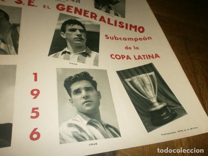 Coleccionismo deportivo: Atletic de Bilbao Campeón de liga y copa de S. E. El Generalísimo 1955 1956 poster original Arte S.A - Foto 3 - 170889730