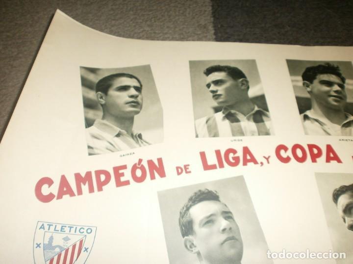 Coleccionismo deportivo: Atletic de Bilbao Campeón de liga y copa de S. E. El Generalísimo 1955 1956 poster original Arte S.A - Foto 4 - 170889730