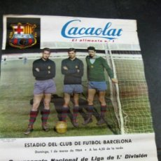 Coleccionismo deportivo: CARTEL CAMPEONATO NACIONAL DE LIGA U D LEVANTE FUTBOL CLUB BARCELONA 1964 CACAOLAT POSTER BARÇA. Lote 171363489