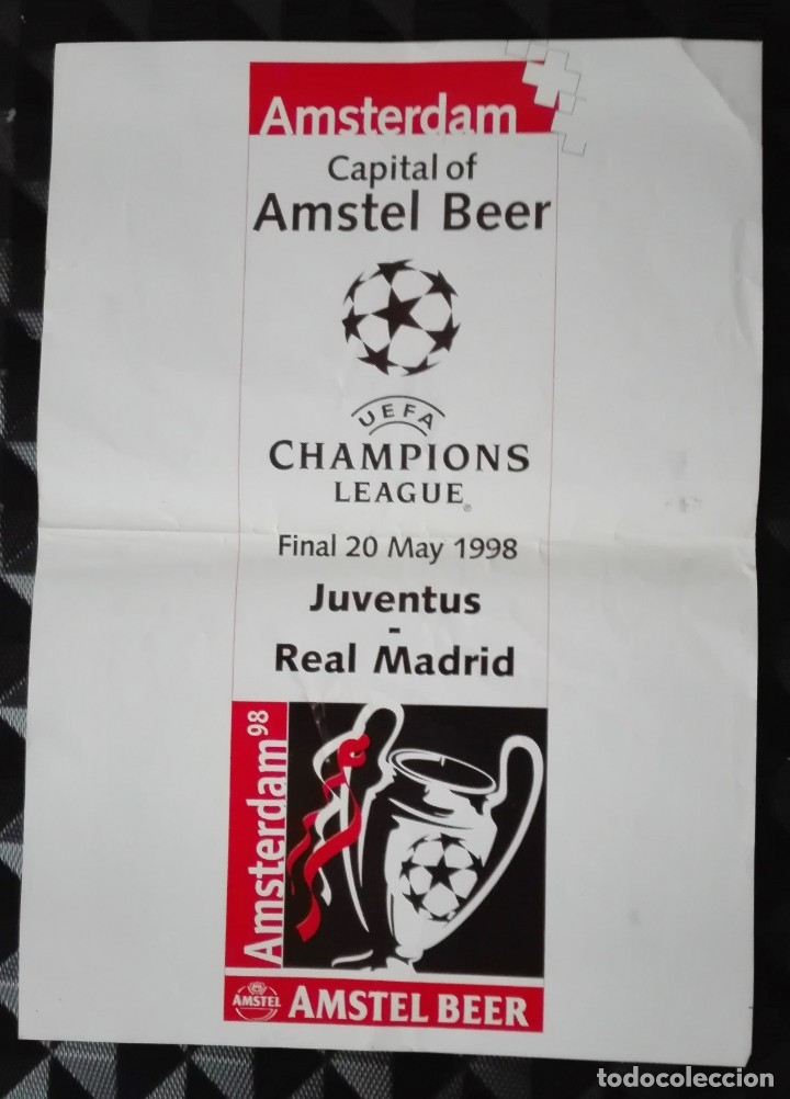 POSTER CARTEL, FINAL CHAMPIONS JUVENTUS REAL MADRID MAYO 1998, 7ª CHAMPIONS (Coleccionismo Deportivo - Carteles de Fútbol)