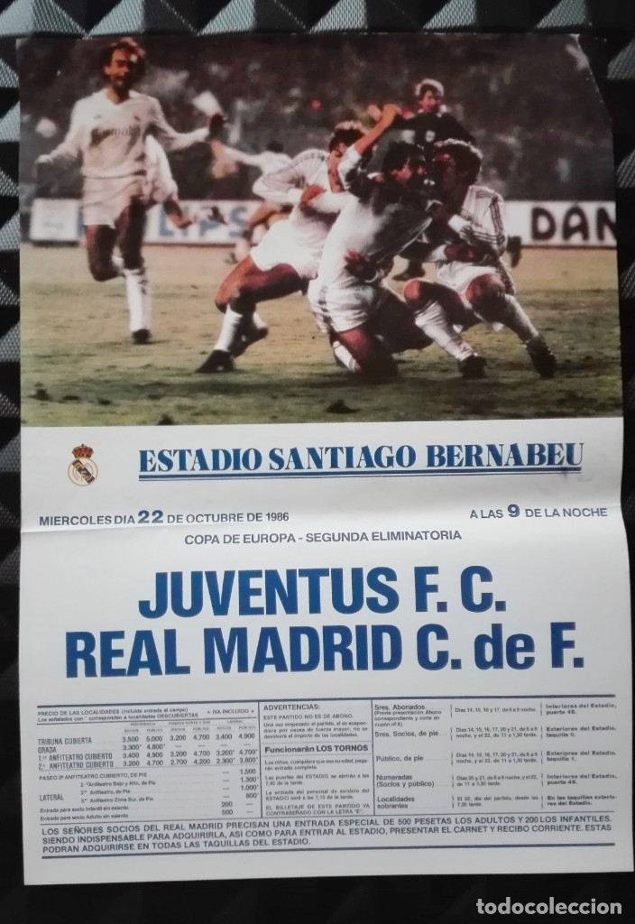 POSTER CARTEL JUVENTUS - REAL MADRID 1986 - 28 POR 40 CM (Coleccionismo Deportivo - Carteles de Fútbol)