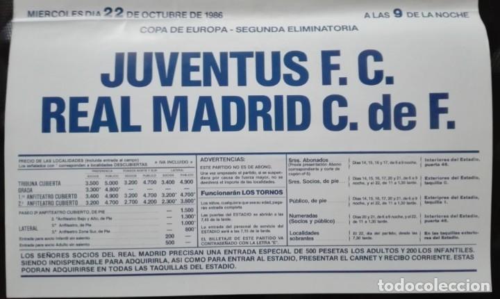 Coleccionismo deportivo: POSTER CARTEL JUVENTUS - REAL MADRID 1986 - 28 POR 40 CM - Foto 3 - 172829598