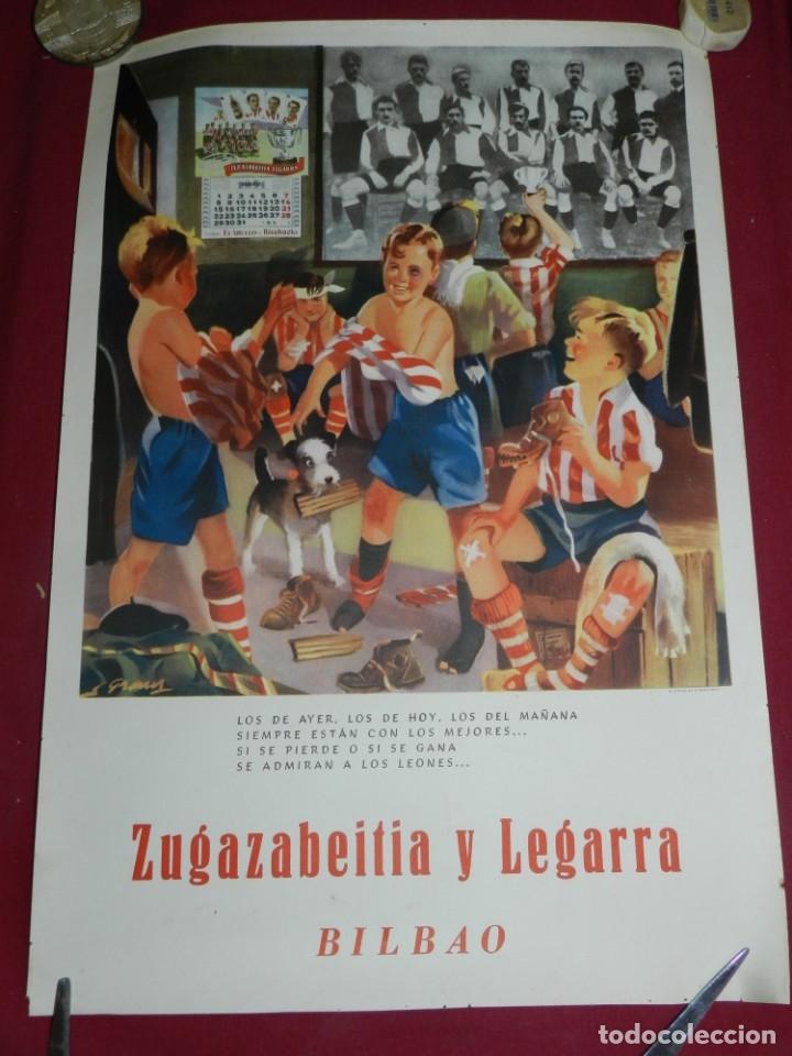 (M) CARTEL ATH BILBAO ORIGINAL ZUGAZABEITIA Y LEGARRA BILBAO, LOS DE AYER, LOS DE HOY LEONES (Coleccionismo Deportivo - Carteles de Fútbol)