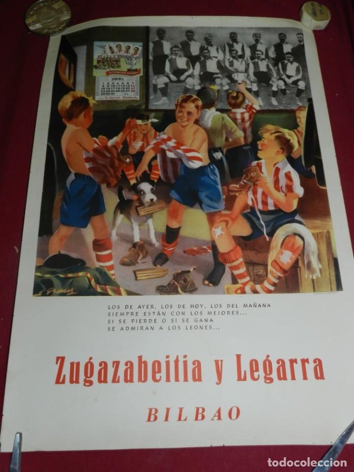 Coleccionismo deportivo: (M) Cartel Ath Bilbao original Zugazabeitia y Legarra Bilbao, Los de Ayer, los de hoy Leones - Foto 4 - 173119592