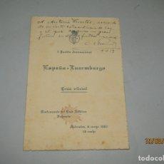Coleccionismo deportivo: ANTIGUO TARJETÓN CENA OFICIAL I PARTIDO ESPAÑA - LUXEMBURGO FEDERACIÓN ESPAÑOLA DE FUTBOL - AÑO 1953. Lote 174226853