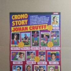 Collectionnisme sportif: JOHAN CRUYFF CROMO STORY JUGADOR BARCELONA 1973-1978 ENTRENADOR BARÇA 1988-1996 PÁGINA REVISTA JUGÓN. Lote 205844455