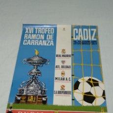 Coleccionismo deportivo: CARTEL XVI TROFEO CARRANZA 1970 CADIZ C.F. 60X83CM. Lote 176226249