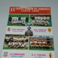 Coleccionismo deportivo: CARTEL XII TROFEO RAMON DE CARRANZA 1966 CADIZ C.F.. Lote 176226720