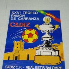 Coleccionismo deportivo: CARTEL XXVI TROFEO DE CARRANZA CADIZ 1980. Lote 176702447