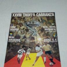 Coleccionismo deportivo: CARTEL XXVIII TROFEO CARRANZA CADIZ C.F. 1982. Lote 176702782