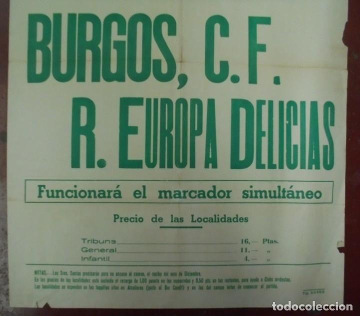 Coleccionismo deportivo: CARTEL FUTBOL. ESTADIO MUNICIPAL. 1958. BURGOS C.F - R.EUROPA DELICIAS. VER - Foto 2 - 176892150