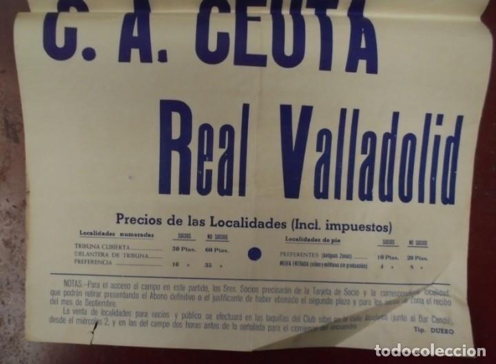 Coleccionismo deportivo: CARTEL FUTBOL. ESTADIO MUNICIPAL. 1959. PARTIDO AMISTOSO. C.A.CEUTA - REAL VALLADOLID. VER - Foto 2 - 176893740