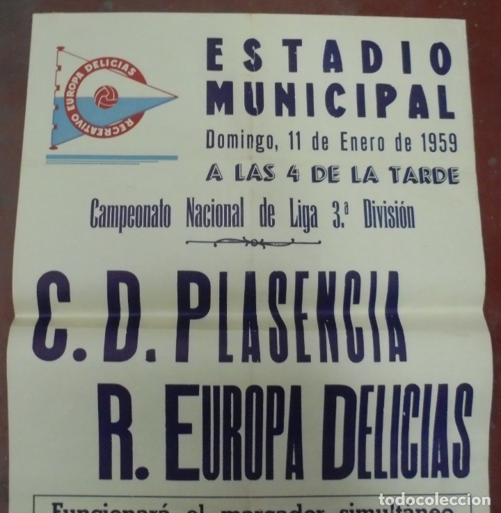 Coleccionismo deportivo: CARTEL FUTBOL. ESTADIO MUNICIPAL. 1959. C.D.PLASENCIA - R.EUROPA DELICIAS. VER - Foto 3 - 176893959