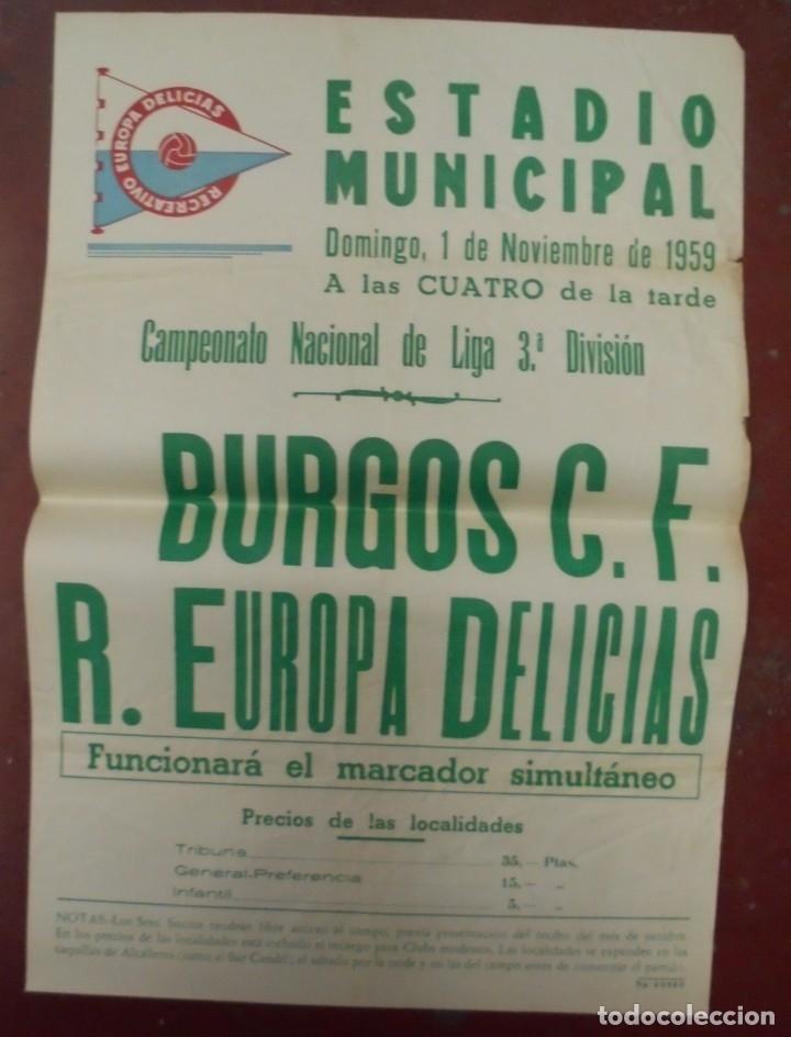 CARTEL FUTBOL. ESTADIO MUNICIPAL. 1959. BURGOS C.F - R.EUROPA DELICIAS. VER (Coleccionismo Deportivo - Carteles de Fútbol)