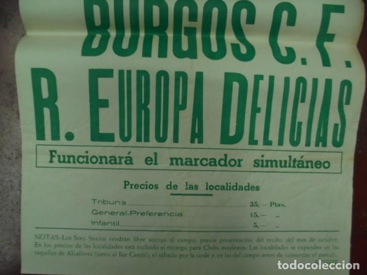 Coleccionismo deportivo: CARTEL FUTBOL. ESTADIO MUNICIPAL. 1959. BURGOS C.F - R.EUROPA DELICIAS. VER - Foto 2 - 176896002