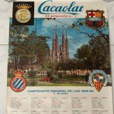 Coleccionismo deportivo: CARTEL FUTBOL F.C. BARCELONA CACAOLAT CALENDARIO LIGA 1965-1966. Lote 177759934
